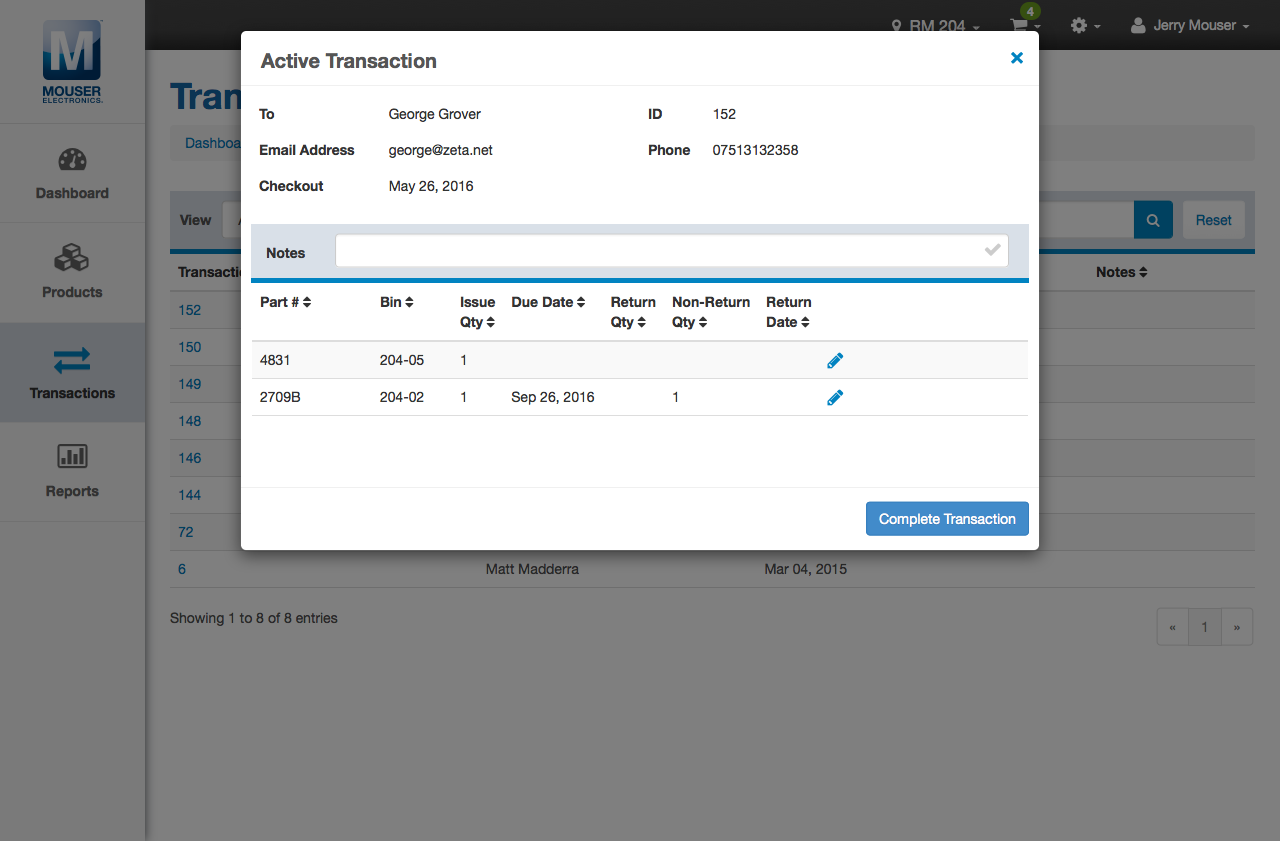 Inventory Management App Product Transaction