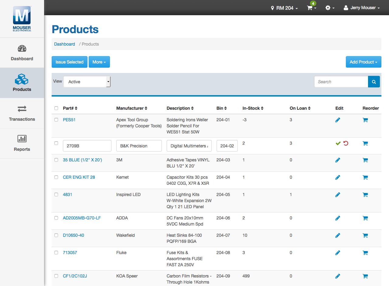 Inventory Management App Products Table